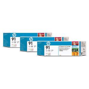 HP 91 775ml x 3 pack Light Gray Ink Cartridge