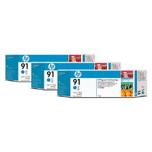 HP 91 775ml x 3 pack Cyan Ink Cartridge