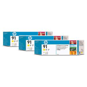 HP 91 775ml x 3 pack Yellow Ink Cartridge