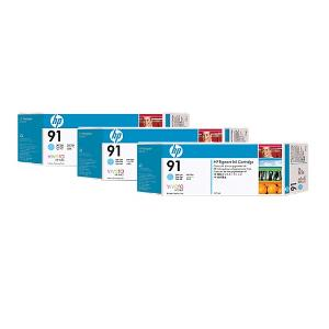 HP 91 775ml x 3 pack Light Cyan Ink Cartridge