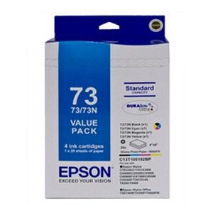 T1051/T1052/T1053/T1054 INK BUNDLE + PAPERPAPER CONSISTS OF 4IN X 6IN GLOSSY PAPER 20 SHEETS FOR STYLUS C79 C90 C110 T20 T21 CX3900 CX4900 CX5500 CX5900 CX6900F CX7300 CX8300 CX9300F