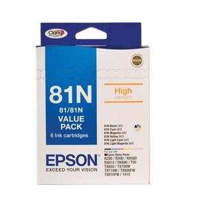 T81N Bundle Pack Ink Set For Stylus Photo 1410, R290, R390, T50, RX590, RX610, RX690, TX650, TX700W, TX710W, TX800FW, TX810FW, ARTISAN 725, 835
